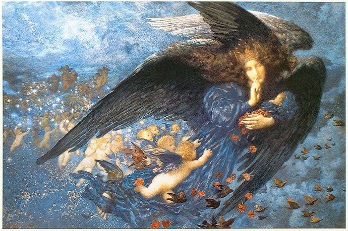 night with her train of stars - edward robert hughes